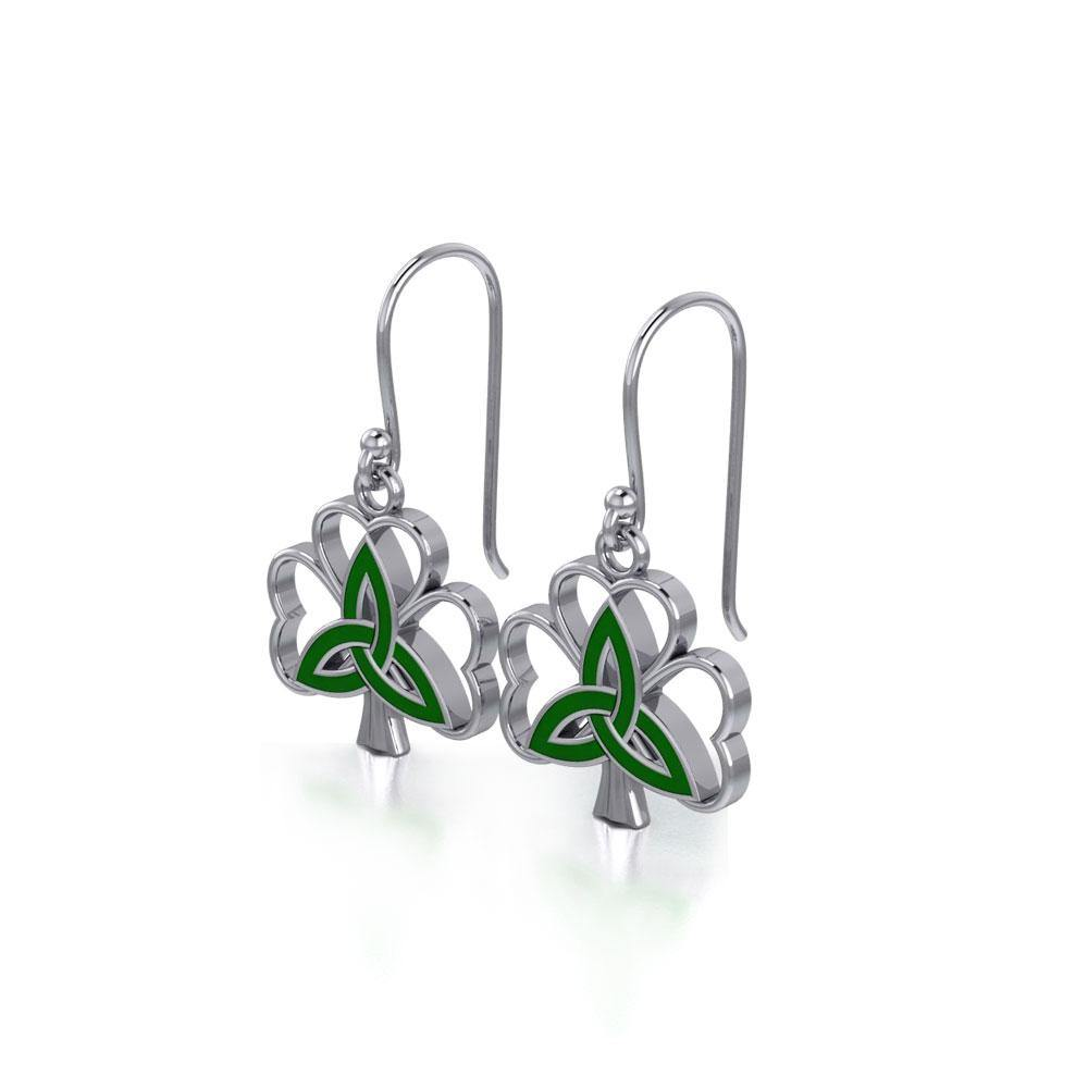 Enamel Trinity Knot on Shamrock Clover Silver Earrings TER1719