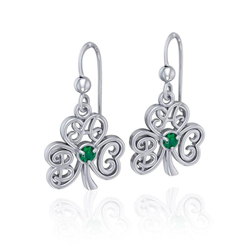 ABC Monogramming Shamrock Clover Silver Gemstone Earrings TER1720 peterstone.