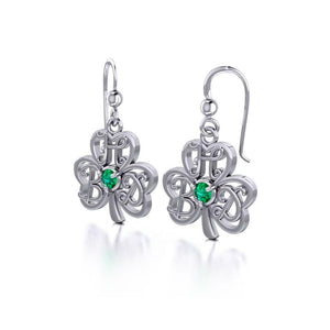 HBD Happy Birthday Monogramming Shamrock Clover Silver Gemstone Earrings TER1721 peterstone.