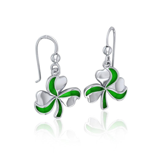 Lucky Shamrock Clover Silver Earrings with Enamel TER1732 peterstone.