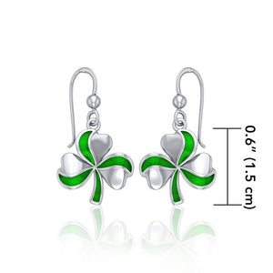 Lucky Shamrock Clover Silver Earrings with Enamel TER1732