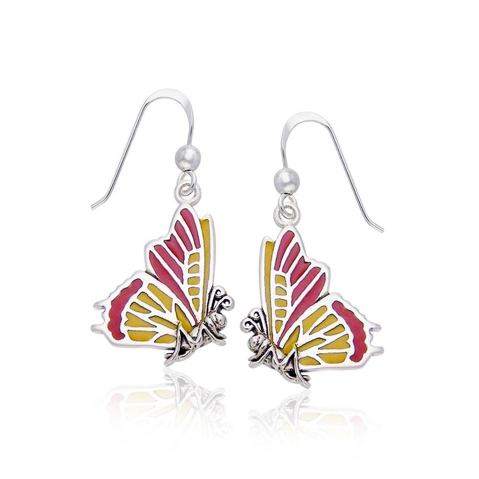 Lifeโ€™s colorful transformation ~ Sterling Silver Jewelry Butterfly Hook Earrings TER516
