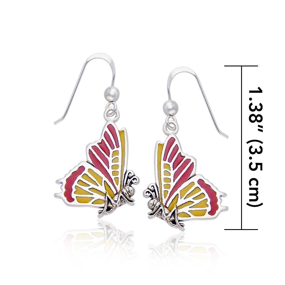 Life's colorful transformation ~ Sterling Silver Jewelry Butterfly Hook Earrings
