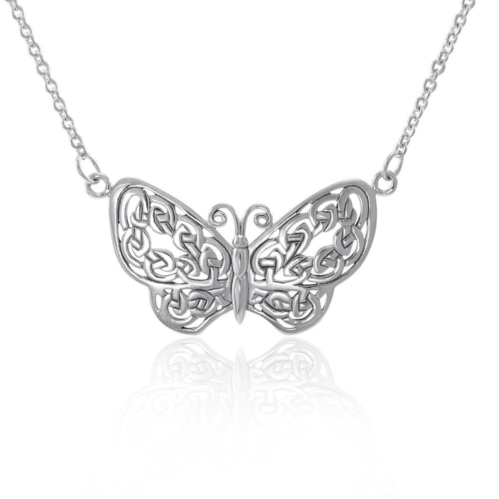 Celtic Knotwork Silver Butterfly Necklace TN047