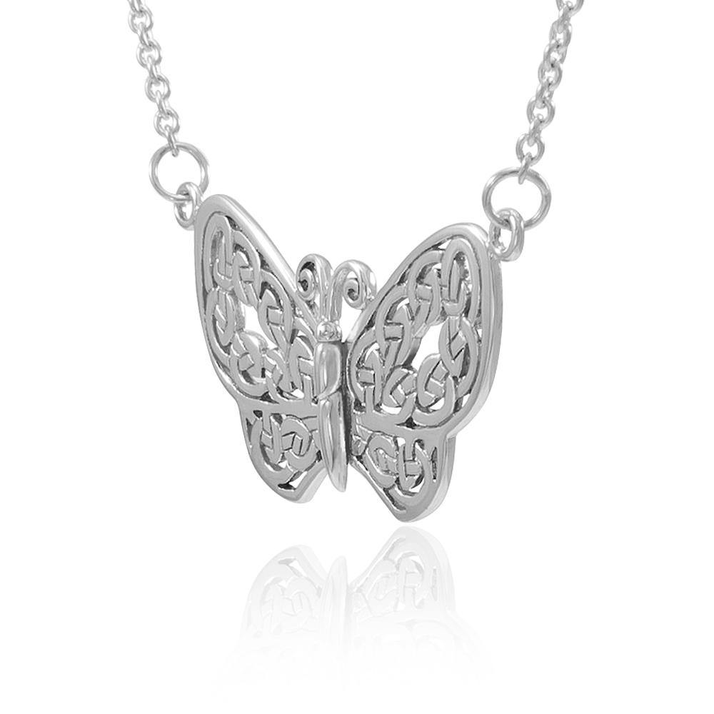 A life-changing symbolism ~ Sterling Silver Jewelry Celtic Knotwork Butterfly Necklace
