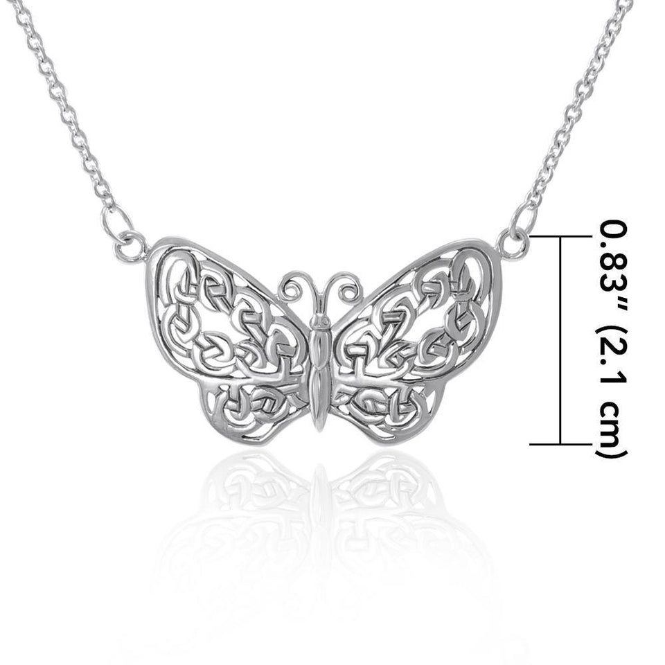 A life-changing symbolism ~ Sterling Silver Jewelry Celtic Knotwork Butterfly Necklace TN047