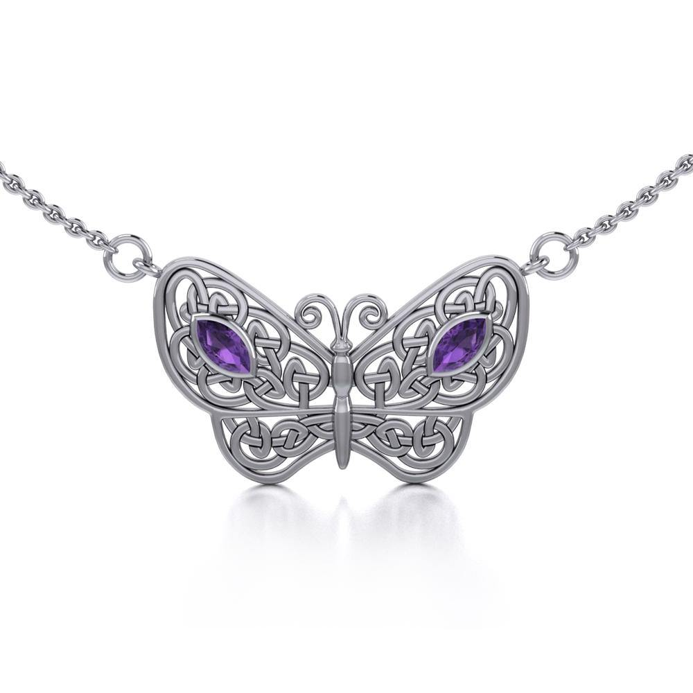 Spread Your Wings Like a Butterfly Small Silver Necklace with Gemstone TN052