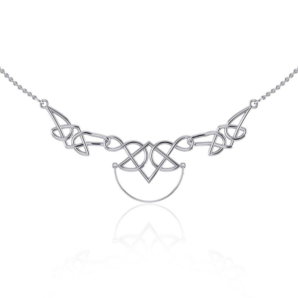 Celtic Knotwork Silver Necklace with Charm Holder TN121