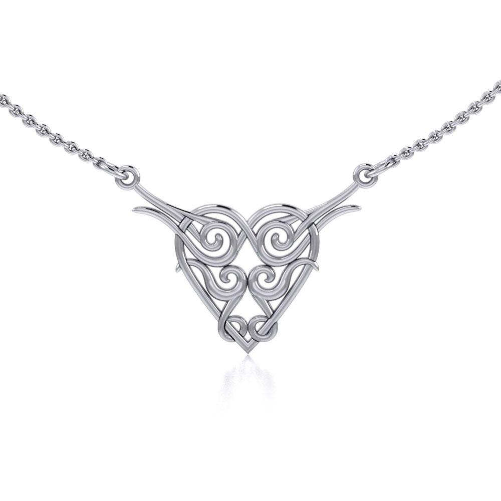 Celtic Spiral Silver Heart Necklace TN276