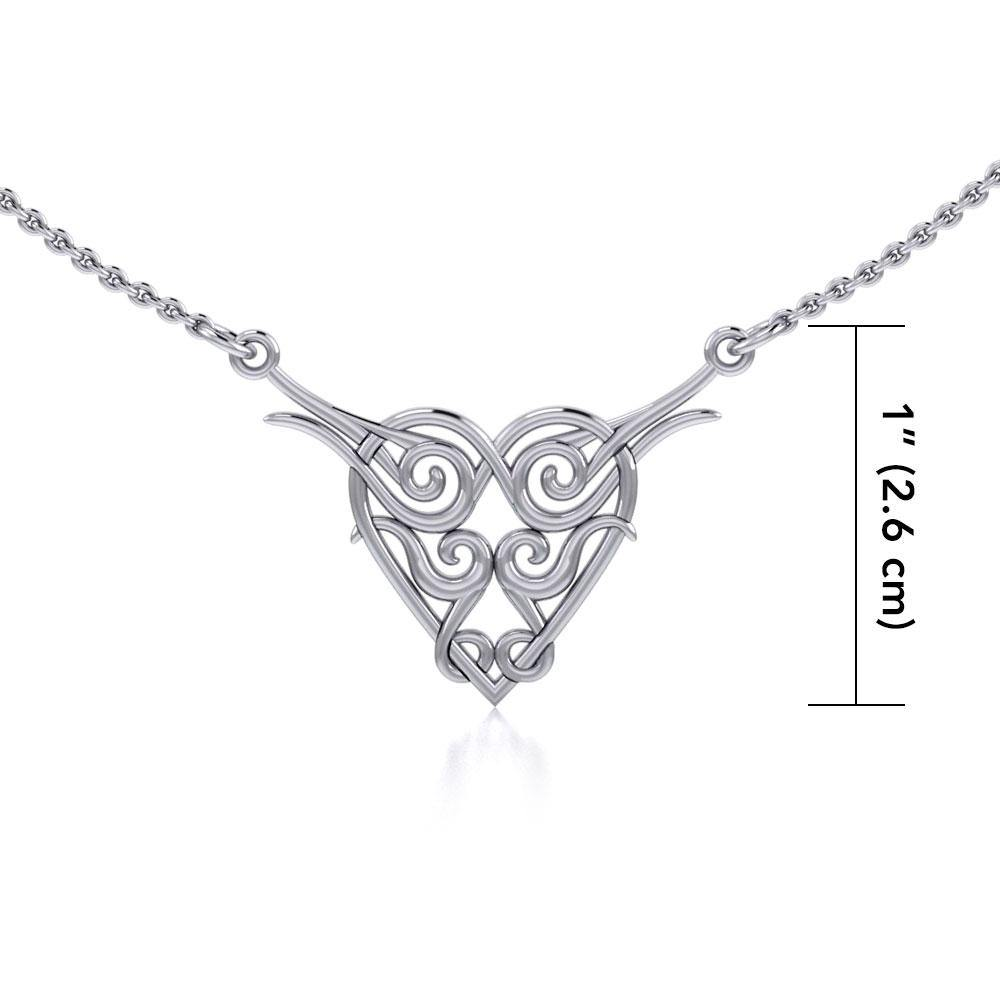 Celtic Spiral Silver Heart Necklace