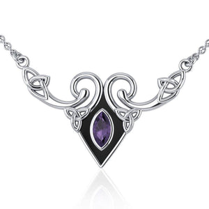 A gift of the world Silver Celtic Triquetra Necklace with Gemstone TNC159 peterstone.