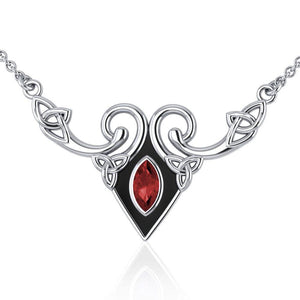 A gift of the world Silver Celtic Triquetra Necklace with Gemstone TNC159