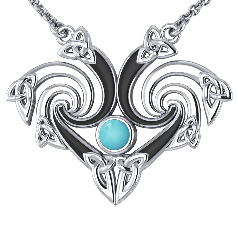 Representation that lies in the Universe Silver Triquetra Necklace with Gemstone TNC160