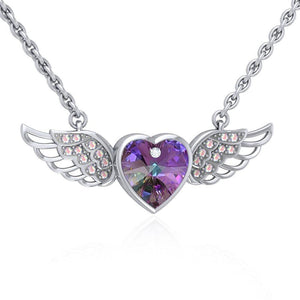 "Angel Wings Crystal Heart 18"" Necklace with White Aurore Boreale Crystal Wing peterstone."