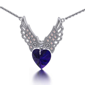 "Angel Wings Dangling Crystal Heart 18"" Necklace with White Aurore Boreale Crystal Wing peterstone."