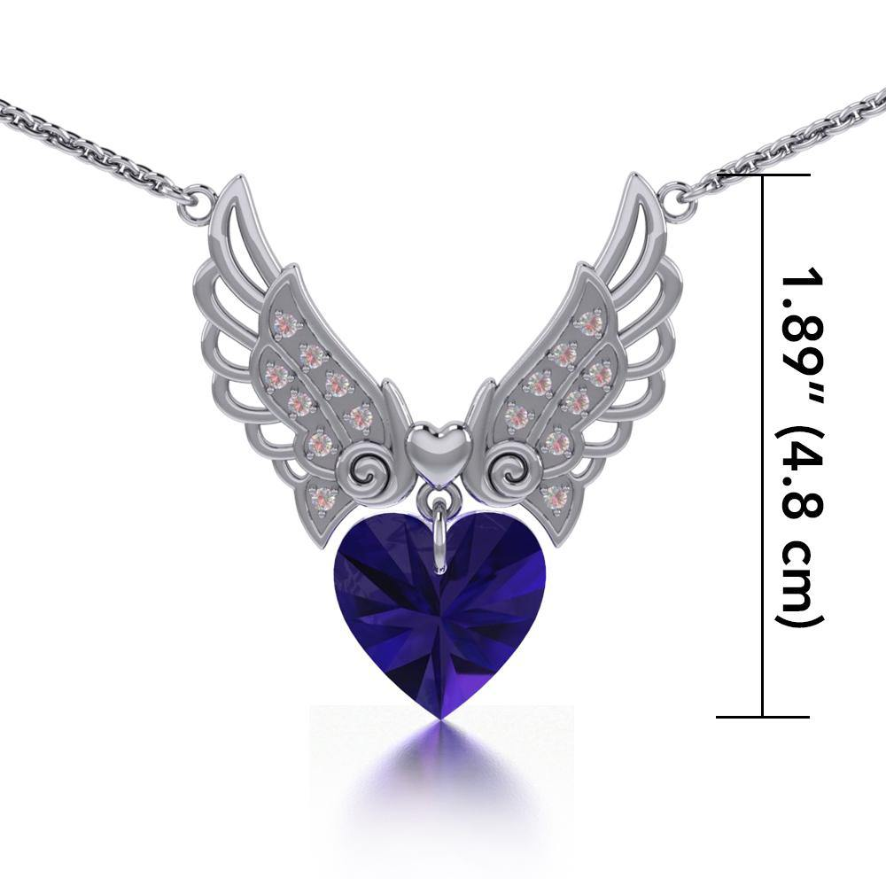 "Angel Wings Dangling Crystal Heart 18"" Necklace with White Aurore Boreale Crystal Wing"