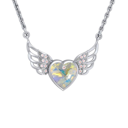 "Crystal Heart with Angel Wings 18"" Necklace with White Aurore Boreale Crystal Wing peterstone."