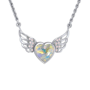 "Crystal Heart with Angel Wings 18"" Necklace with White Aurore Boreale Crystal Wing"
