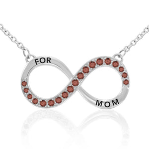 Infinity Love For Mom Silver Large Necklace with Gemstone TNC456