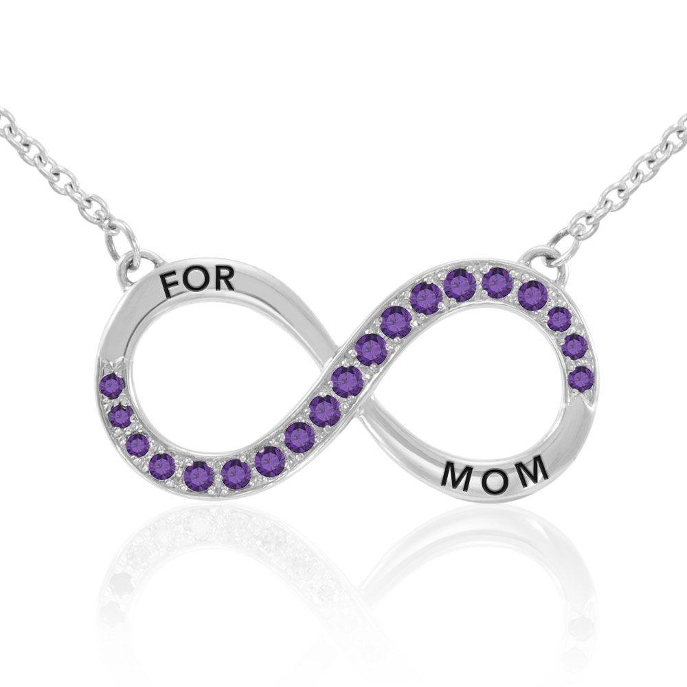 Infinity Love For Mom Silver Large Necklace with Single Gem