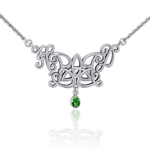 Happy Birthday Trinity Knot Monogramming Silver Necklace with Gem TNC458 peterstone.