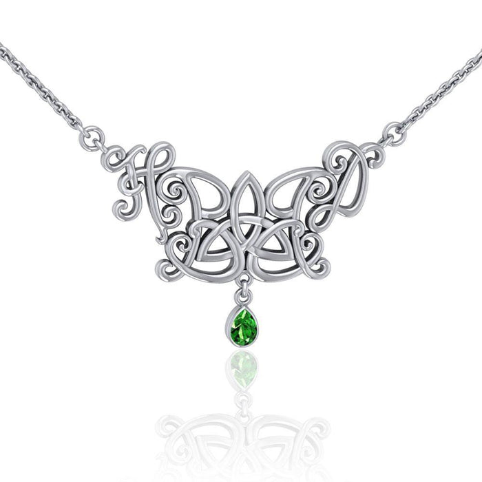Happy Birthday Trinity Knot Monogramming Silver Necklace with Gem TNC458