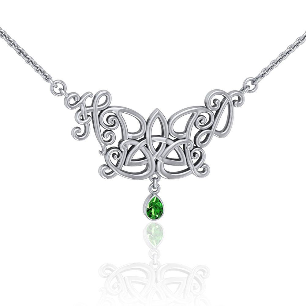Happy Birthday Trinity Knot Monogramming Silver Necklace with Gem