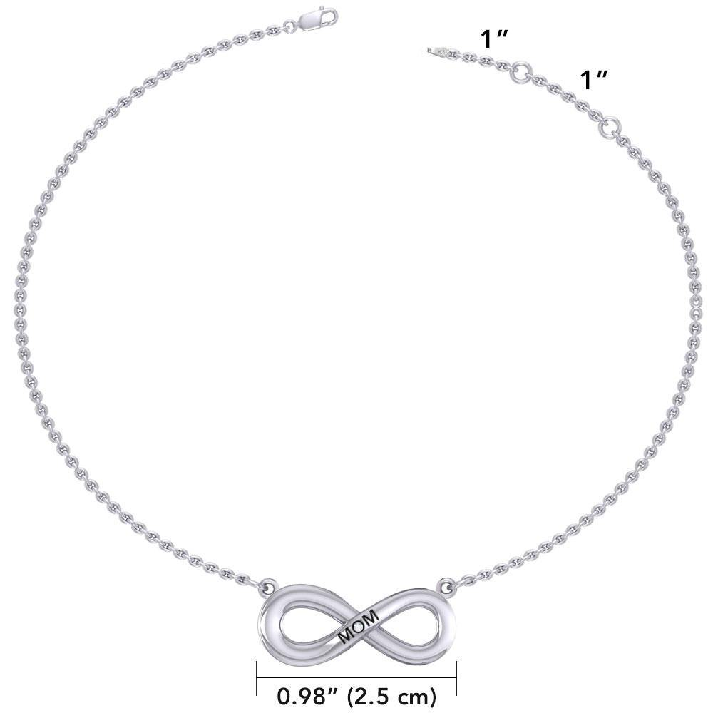 Infinity Love For Mom Silver Necklace with Single Gem TNC459