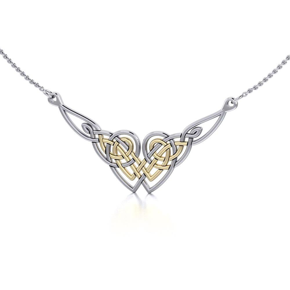 Celtic Knot Gold Accent Silver Necklace TNV001