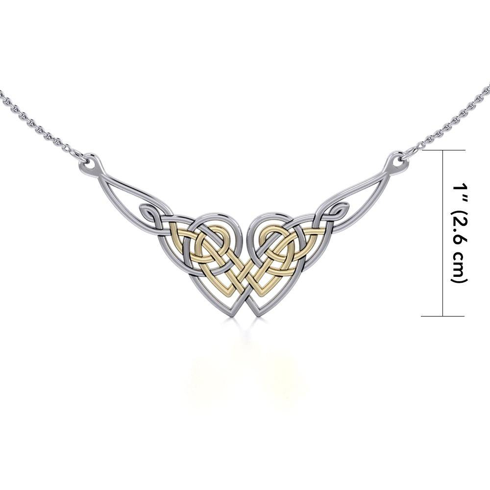 Celtic Knot Gold Accent Silver Necklace