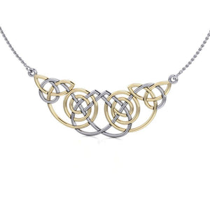 Celtic Knot Spiral Gold Accent Silver Necklace TNV002