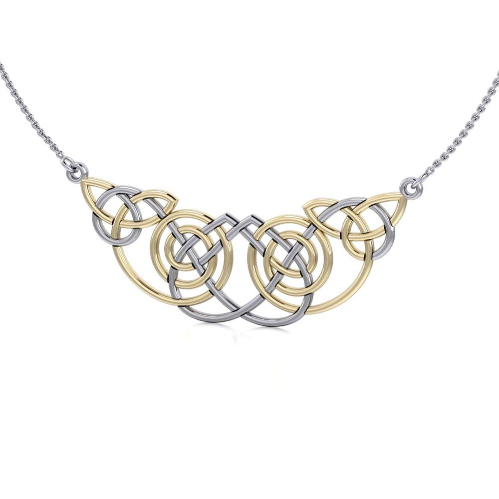 ca11d74ca Celtic Knot Spiral Gold Accent Silver Necklace – Peter Stone Jewelry