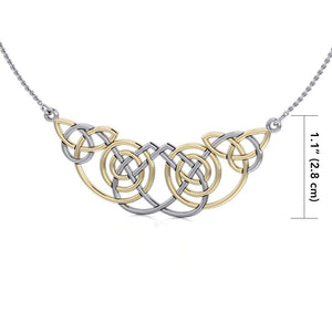 Celtic Knot Spiral Gold Accent Silver Necklace TNV002 peterstone.