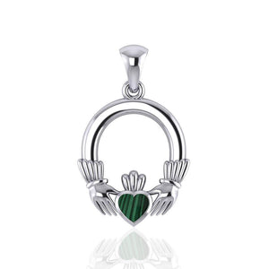 Irish Claddagh Silver Pendant with Gemstone Inlay TP101 peterstone.