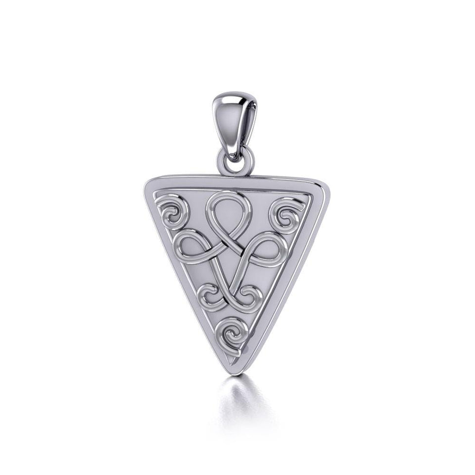 Celtic Knotwork Silver Triangle Pendant TP1085 peterstone.