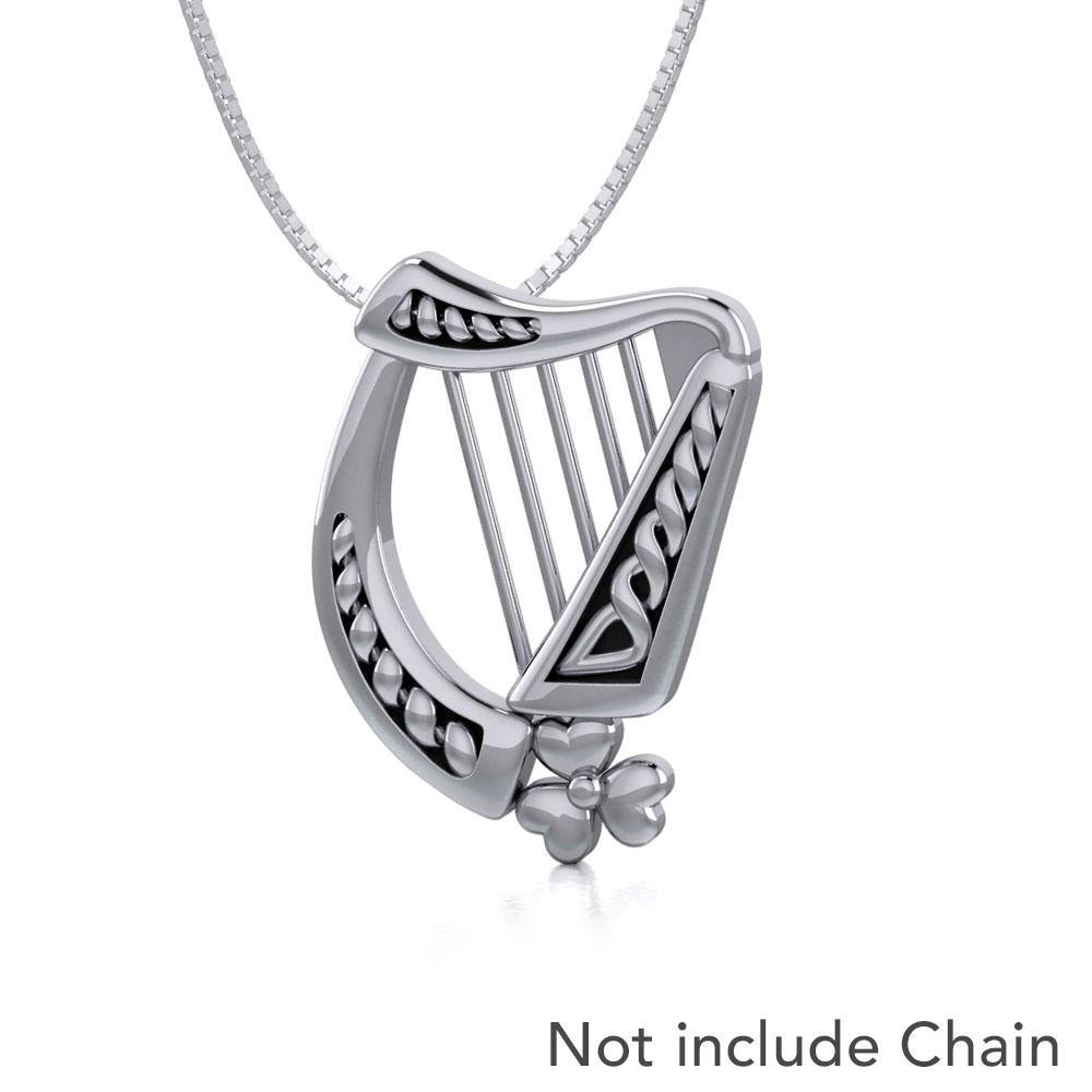 Celtic Harp Irish Shamrock Silver Pendant