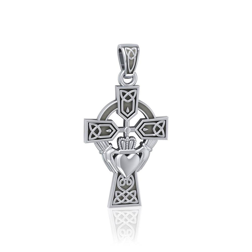 Celtic Cross and Irish Claddagh Silver Pendant