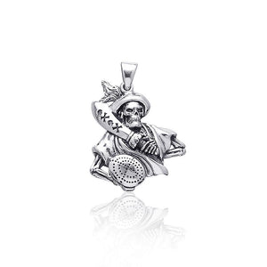 Take the battle in a new sea adventure ~ Sterling Silver Jewelry Pirate Skull with Sword Pendant TP3055 peterstone.