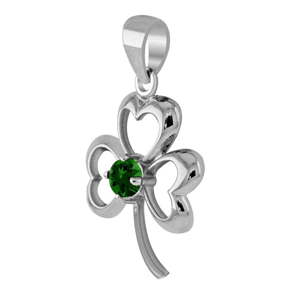 Finest beauty ~ Sterling Silver Jewelry Shamrock Pendant with Center Gemstone TP3105