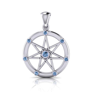 Elven Star with Gems Silver Pendant TP3134 peterstone.