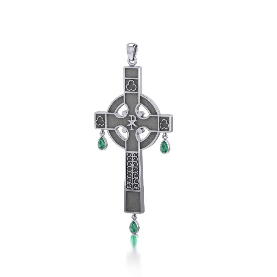 Medieval Celtic Cross Silver Pendant with Gemstones TP3257