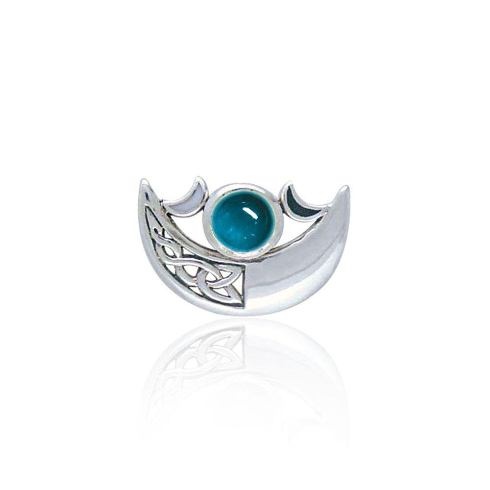 Be enchanted by the Crescent Moon celestial beauty ~ Sterling Silver Necklace with Gemstone TP3263 Pendant