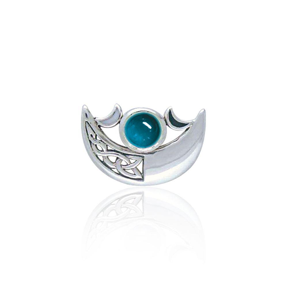 Be enchanted by the Crescent Moon's celestial beauty ~ Sterling Silver Necklace with Gemstone