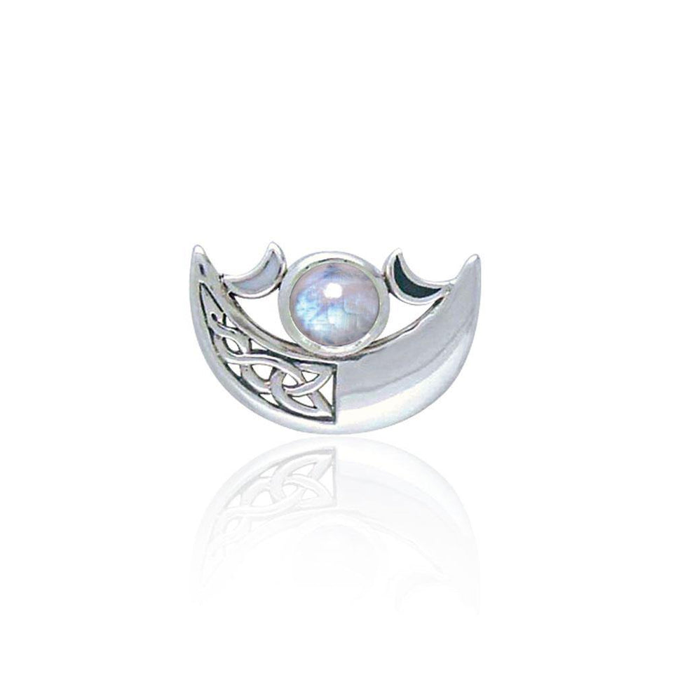 Be enchanted by the Crescent Moon celestial beauty ~ Sterling Silver Necklace with Gemstone TP3263 peterstone.