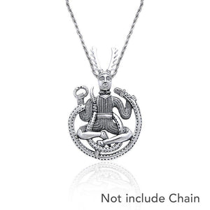 God Cernunnos in his mighty throne ~ Sterling Silver Jewelry Pendant TP3450 peterstone.