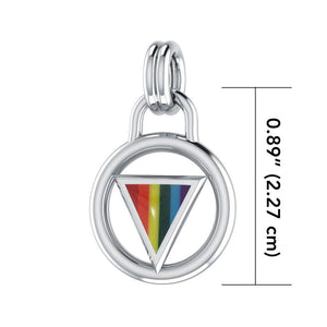 Rainbow Encircled Triangle Silver Pendant TP523