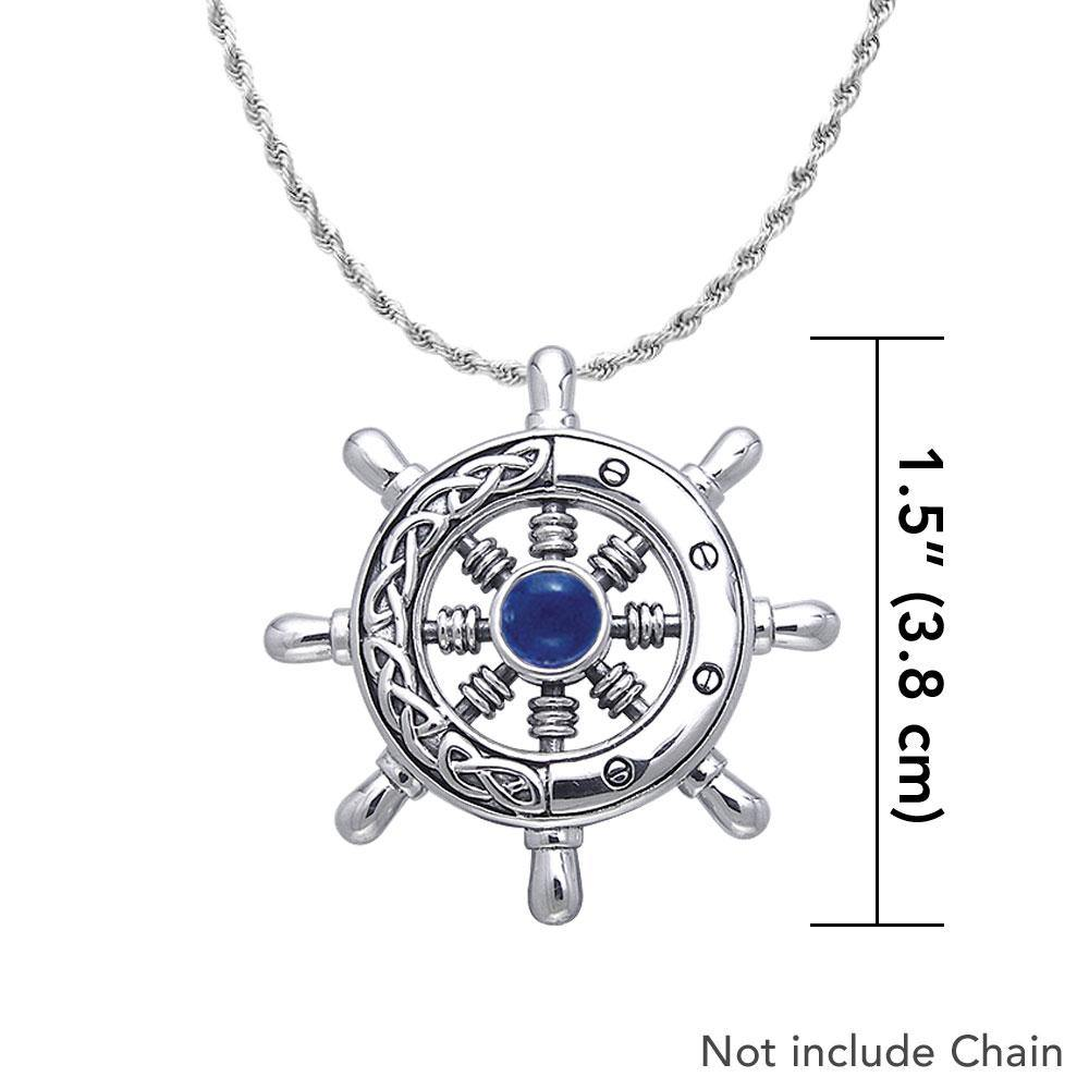 Large Celtic Ship Wheel ~ Sterling Silver Pendant Jewelry