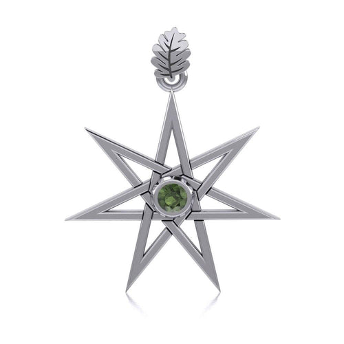 Elven Star and Oak Leaf Sterling Silver Pendant with Gemstone TPD2104