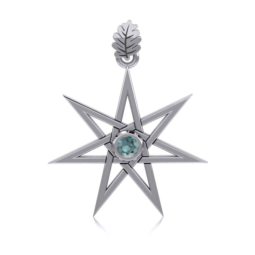 Elven Star and Oak Leaf Sterling Silver Pendant with Gemstone