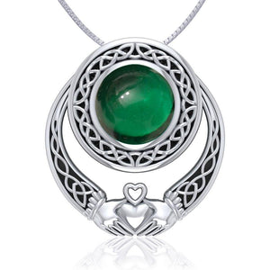 Celtic Knotwork Claddagh Silver Pendant with Gem TPD220 peterstone.